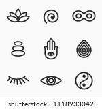 meditation and yoga icon set... | Shutterstock .eps vector #1118933042