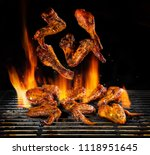 flying pieces of chicken meat... | Shutterstock . vector #1118951645