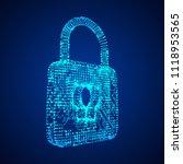 padlock cyber security concept. ... | Shutterstock .eps vector #1118953565