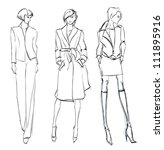 sketch. fashion girl. hand... | Shutterstock . vector #111895916