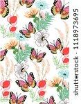 flowers and butterflies | Shutterstock .eps vector #1118973695