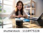 close up of wireless speaker in ... | Shutterstock . vector #1118975228