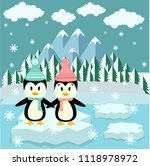 cute penguins couple with snow... | Shutterstock .eps vector #1118978972