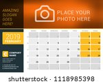 february 2019. desk calendar... | Shutterstock .eps vector #1118985398