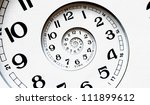twisted clock face. time concept | Shutterstock . vector #111899612