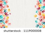 color handprint background... | Shutterstock .eps vector #1119000008