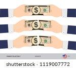 10 us dollar banknote. hands... | Shutterstock .eps vector #1119007772