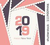 happy new year 2019 text design ... | Shutterstock .eps vector #1119009446
