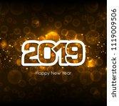 happy new year 2019 text design ... | Shutterstock .eps vector #1119009506