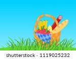 vector wicker picnic basket... | Shutterstock .eps vector #1119025232