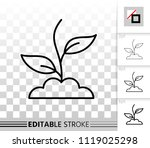 green grass thin line icon.... | Shutterstock .eps vector #1119025298