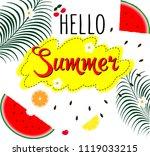 hello summer inscription on the ... | Shutterstock .eps vector #1119033215