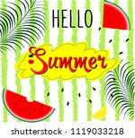 hello summer inscription on the ... | Shutterstock .eps vector #1119033218