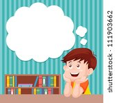 cartoon boy thinking with white ... | Shutterstock .eps vector #111903662