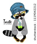vector raccoon with a glass ... | Shutterstock .eps vector #1119042212