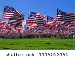 hundreds of american flags... | Shutterstock . vector #1119053195
