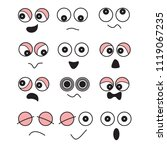 cartoon face vector set | Shutterstock .eps vector #1119067235
