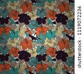 decorative hibiscus flowers...   Shutterstock .eps vector #1119072236
