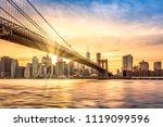 brooklyn bridge at sunset... | Shutterstock . vector #1119099596