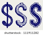 dollar sign. doodle style | Shutterstock .eps vector #111911282
