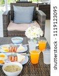 breakfast with hot dogs  fried... | Shutterstock . vector #1119123095