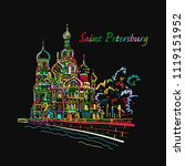 saint petersburg. church of the ... | Shutterstock .eps vector #1119151952