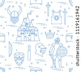 seamless pattern with knight ... | Shutterstock .eps vector #1119161942