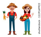farmers  man and woman  cartoon ... | Shutterstock .eps vector #1119169922