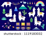 vector set of cute llamas ... | Shutterstock .eps vector #1119183032