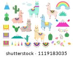 vector set of cute llamas ... | Shutterstock .eps vector #1119183035