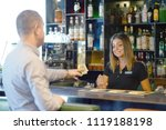 the waitress refuses to receive ... | Shutterstock . vector #1119188198