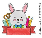 cute rabbit with gifts... | Shutterstock .eps vector #1119191765