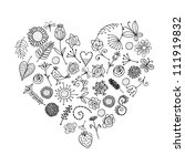 Floral Ornament Heart Shape Fo...