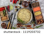 spices for cooking with kitchen ... | Shutterstock . vector #1119203732