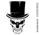 skull in a hat cylinder. black... | Shutterstock .eps vector #1119213512