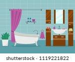 modern bathroom interior with... | Shutterstock .eps vector #1119221822