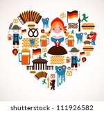 heart shape with germany icons   Shutterstock .eps vector #111926582
