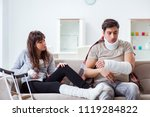 injured family of wife and... | Shutterstock . vector #1119284822