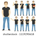 man in casual outfit set with... | Shutterstock .eps vector #1119290618