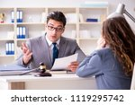 lawyer discussing legal case... | Shutterstock . vector #1119295742