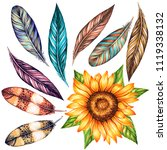 set of bird feathers and... | Shutterstock . vector #1119338132
