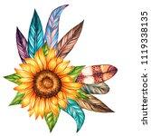 hand drawn sunflower and bird... | Shutterstock . vector #1119338135