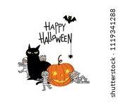 happy halloween party... | Shutterstock .eps vector #1119341288