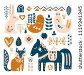 composition with folk art... | Shutterstock .eps vector #1119341345