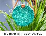 fashionable stylish rattan bag... | Shutterstock . vector #1119343532