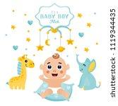 baby boy shower card.... | Shutterstock .eps vector #1119344435