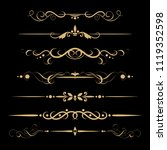 set of design gold elements and ... | Shutterstock .eps vector #1119352598