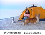 happy weekend by the sea   girl ... | Shutterstock . vector #1119360368