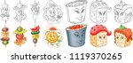 cartoon snack and sushi... | Shutterstock .eps vector #1119370265
