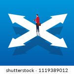 businessman stands on arrow in... | Shutterstock .eps vector #1119389012